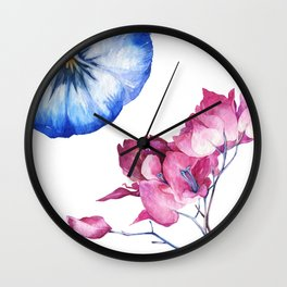 Beautiful Succulents In Pastel Blue And Pink Wall Clock