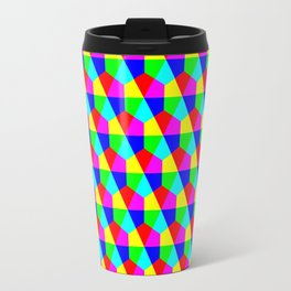 Geometric hexagons red yellow green blue pink Travel Mug