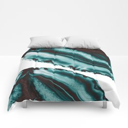 Turquoise Brown Agate #1 #gem #decor #art #society6 Comforters