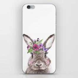 Bunny with flowers iPhone Skin