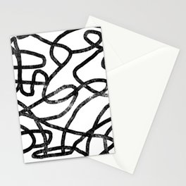 Linocut abstract minimal black and white art minimalist decor office dorm college Stationery Cards