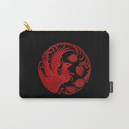 Traditional Red and Black Chinese Phoenix Circle Carry-All Pouch
