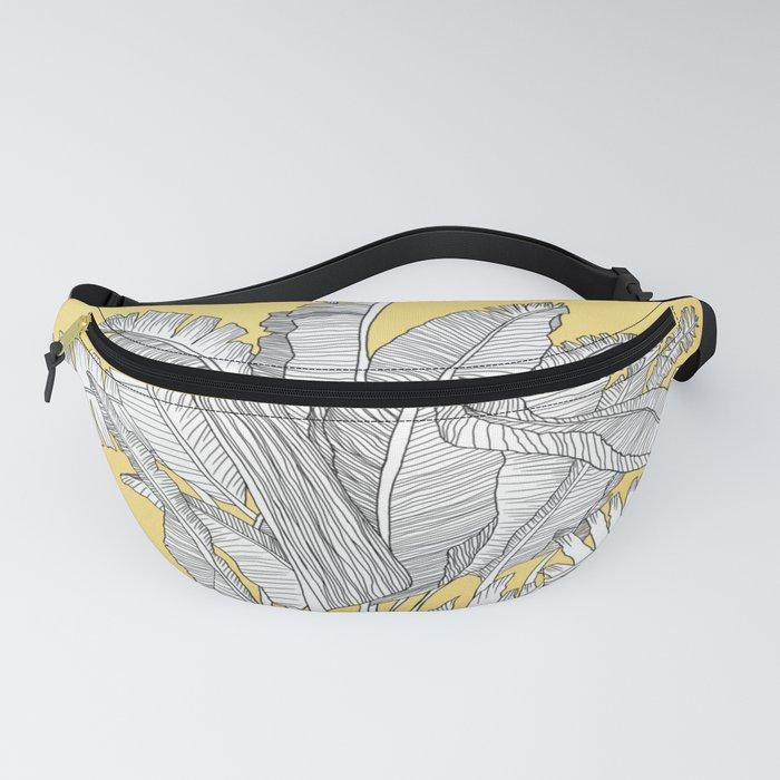 Banana Leaves Illustration - Yellow Fanny Pack