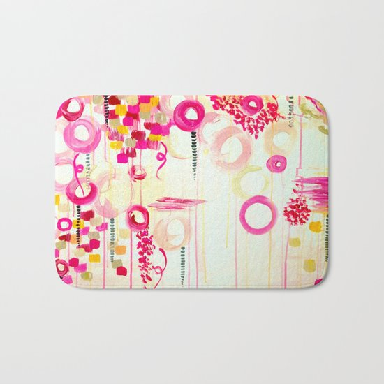 BALLOON LOVE Bubblegum POP! Beautiful Cheerful Bubbles Pretty Pink  Abstract Acrylic Painting Sky Bath Mat
