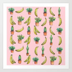 For Her (cactus and Bananas) Art Print