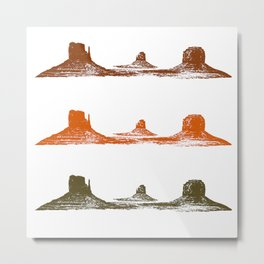 Monument Valley, 3 mountains, 3 colors Metal Print