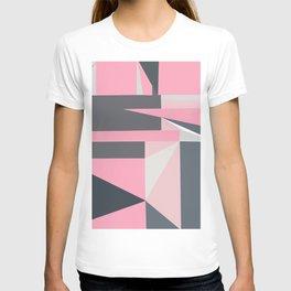 Modern hot pink gray abstract shapes pattern T-shirt