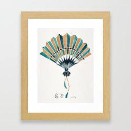 Folding Fan – Teal & Gold Palette Framed Art Print
