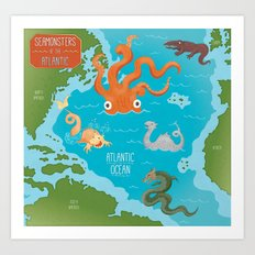 Seamonsters of the Atlantic Ocean Map Art Print