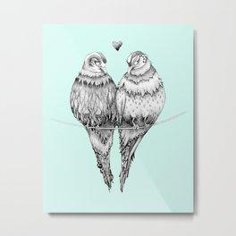 Love Birds Blue Metal Print