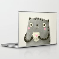 grey Laptop & iPad Skins featuring I♥kill (brown) by Lime