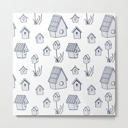 Bird House Drawings, Pattern Metal Print
