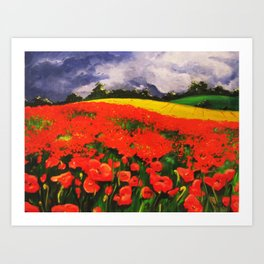 Poppies before the Storm Art Print
