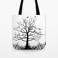 Graffiti Tree B/W Tote Bag