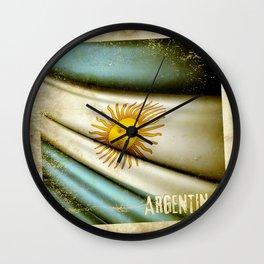 Grunge sticker of Argentina flag Wall Clock