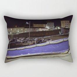 Blue Boat at Night Rectangular Pillow