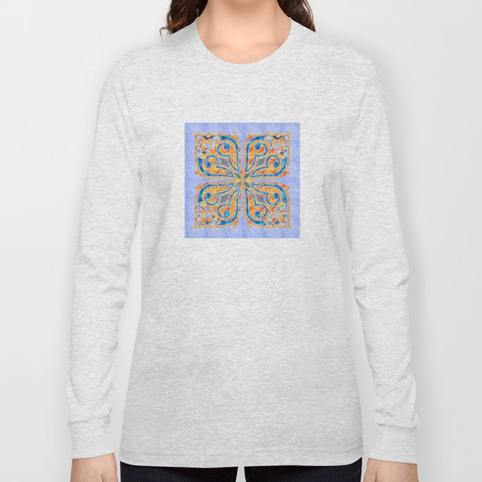 Blue Oriental Tile 02 Long Sleeve T-shirt