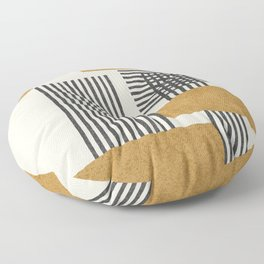 Stripes and Square Composition - Abstract Floor Pillow