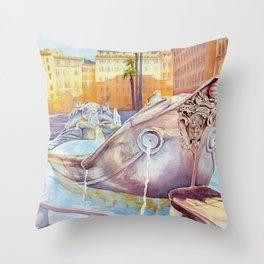 Fontana della Barcaccia Throw Pillow