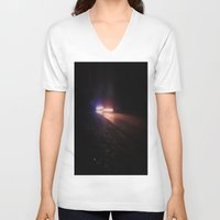 racing V-neck T-shirts featuring UFO Racing by Jorgenson Art Syndicate