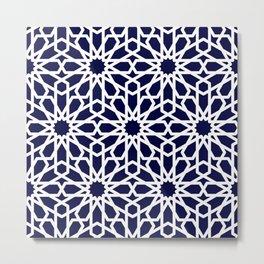 Moroccan Grid Blue Metal Print
