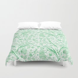 Mermaid Toile - Green Duvet Cover