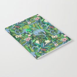 Improbable Botanical with Dinosaurs - dark green Notebook