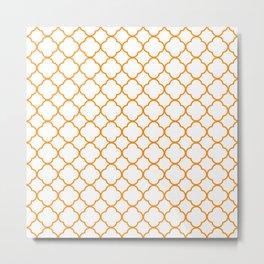 Clover Quatrefoil Pattern: Orange Metal Print