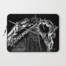 Geometric Black and White Drawing Kitting Hands Laptop Sleeve