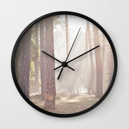 on a misty morning Wall Clock