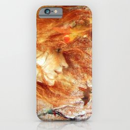 A Gust of Autumn Wind portrait painting by Lucien Levy Dhurmer iPhone Case