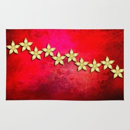 Spectacular gold flowers in red and black grunge texture Rug
