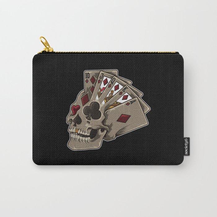 Poker Skull | Card Dealer Gambler Luck Jackpot Carry-All Pouch