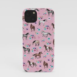 Horses & Flowers, Pink Pattern, Horse Illustration, Little Girls Room, Watercolor iPhone Case