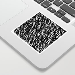 Handmade polka dot brush strokes (black and white reverse dalmatian) Sticker