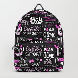 Black and pink. Game pattern. Backpack
