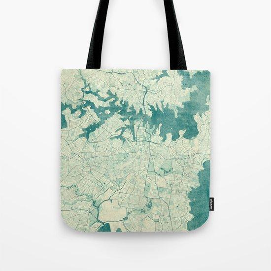 Sydney Map Blue Vintage Tote Bag