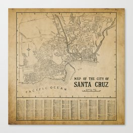 Santa Cruz Vintage Map Canvas Print