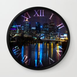 Philly Skyline Glowing Wall Clock