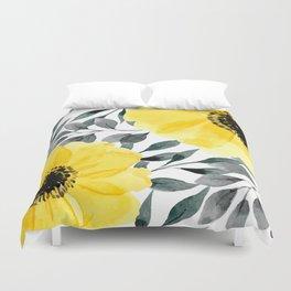 Big yellow watercolor flowers Duvet Cover