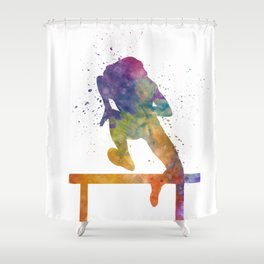 Female Athlete Jumping Over A Hurdles 02 Shower Curtain
