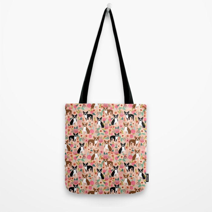Boston Terrier cute floral pattern spring summer happy pet portrait dog person gift must haves dogs Tote Bag