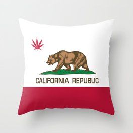 California Republic state flag with red Cannabis leaf Throw Pillow