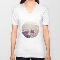 vermont V-neck T-shirts featuring Vermont Avenue by CMcDonald
