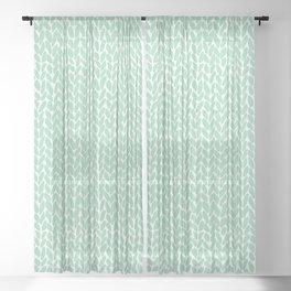 Hand Knit Mint Sheer Curtain