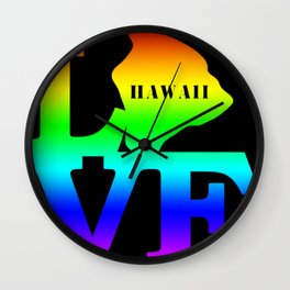 Hawaii Pride USA State Love Map Wall Clock