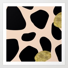 Golden exotics - Cow and soft tangerine Art Print