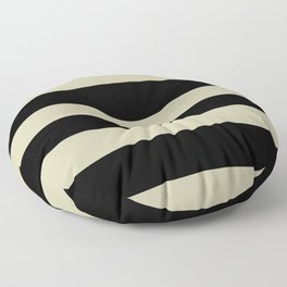 Natural Olive Green - Martinique Dawn - Asian Silk Hand Drawn Fat Horizontal Lines on Black Floor Pillow