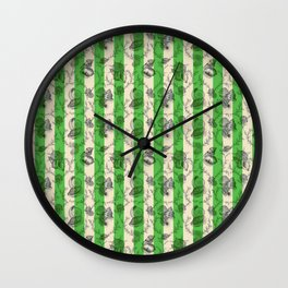 Stripes & Shells - green Wall Clock
