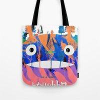hayao miyazaki Tote Bags featuring Poster Toto ro (Miyazaki) by Mariano F. Hernandez